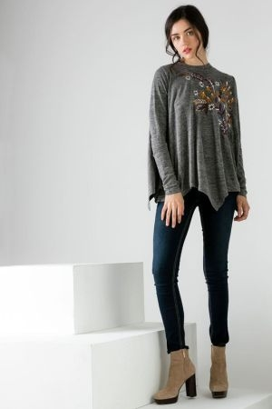 Embroidered mock neck sweater